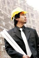 An architect at a construction site