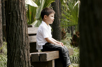 Boy sitting on the bench alone