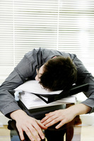 Businessman sleeping on the table