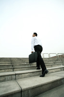 Businessman with briefcase walking up the stairs