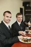 Businessmen having lunch at a restaurant