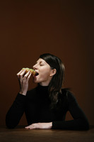 Businesswoman eating