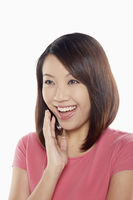 Cheerful woman laughing