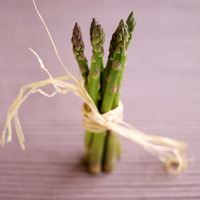 Close up of a bundle of asparagus