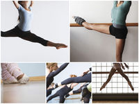 Collage of fit women practicing ballet dance