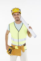 Construction worker holding a construction plan