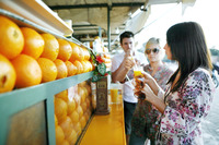 Couple enjoying fresh orange juice at beverage stall
