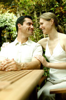Couple sitting at the picnic table