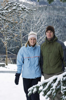 Couple walking outdoor in winter clothing