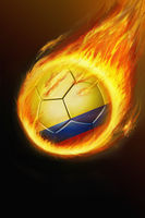 Flaming russia soccer ball