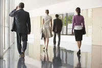 Four businesspeople walking in office corridor