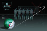 Free kick infographic with algeria soccer ball