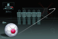 Free kick infographic with japan soccer ball
