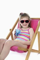 Girl relaxing on lounge chair