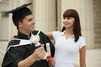 Graduate and woman looking at each other