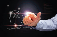 Popular : Hand pointing with technical support concept