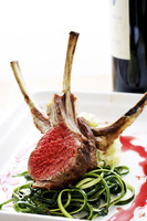 Lamb chop on dinner plate
