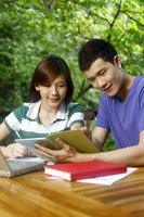 Man and woman studying together