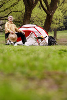 Man camping in the park