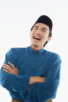 Man in traditional clothing laughing