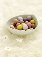 Mini eggs and fake daisies