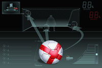 Penalty kick infographic with england soccer ball