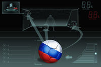 Penalty kick infographic with russia soccer ball