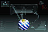 Penalty kick infographic with uruguay soccer ball