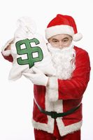 Santa claus with a bag of money