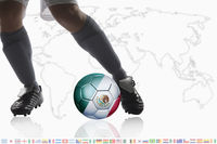 Soccer player dribble a soccer ball with mexico flag