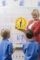 Teacher teaching kids to tell time
