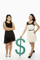 Two women with a dollar sign