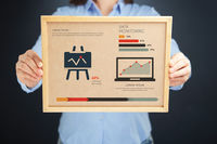 Popular : Woman holding board with data monitoring concept and infographics