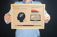 Popular : Woman holding board with maintenance concept and infographics