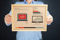 Popular : Woman holding board with website database concept and infographics