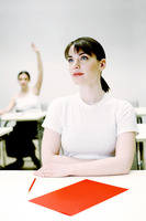 Woman paying attention in class