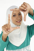 Woman showing hand gesture