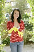Woman with rubber gloves