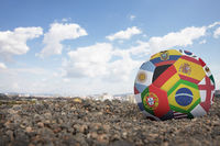 World flags soccer ball on the ground