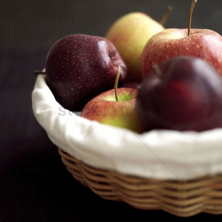 Food : Close up of a basket of red apples