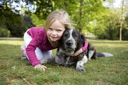 Park Outdoor : Girl posing with her dog