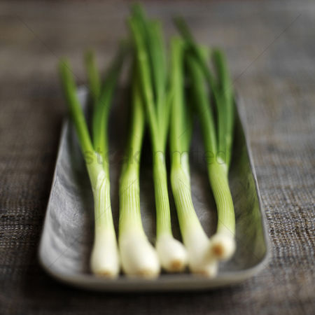 Food : High angle close up of some spring onion