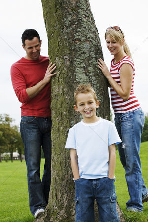 Park Outdoor : Parents and son having fun in the park