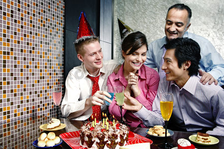 Celebration : Woman celebrating birthday with her friends