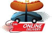 24 hours online fast food delivery concept