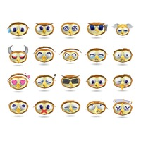 A set of owl emoticon showing various facial expressions