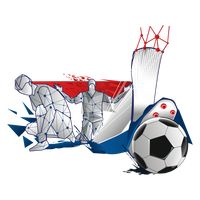 Abstract soccer player and ball design