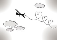 Aeroplane drawing hearts in the sky