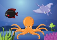 An octopus and stingray