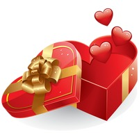 Popular : An opened heart shape gift box